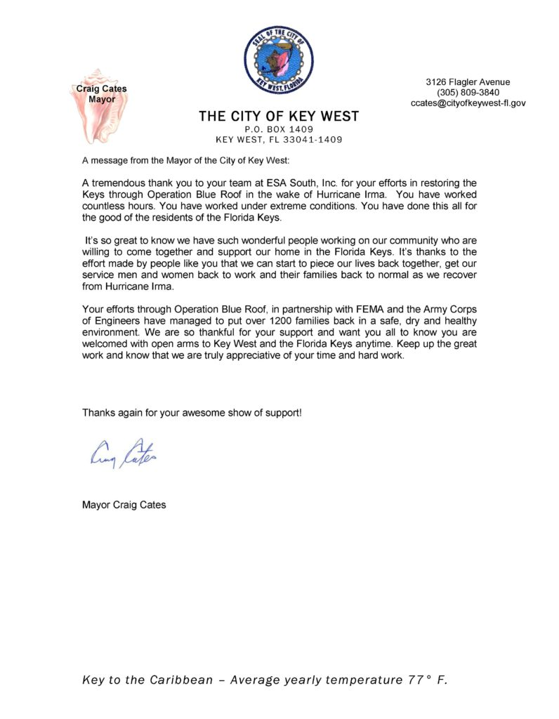 ESA South receives praise from Mayor of Key West-Letter